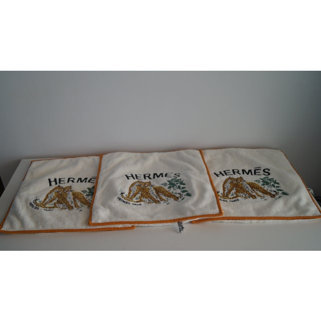 1980s Hermes Cushion Covers With Tiger Embroidery - Set of 3 For Sale - Image 5 of 12
