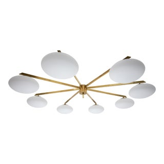 Stella Canopy - Angelo Lelli Style Brass and Opaline Ceiling Lamp For Sale