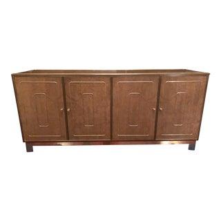 1970s Hollywood Regency Romweber Brass & Burl Wood Dresser For Sale