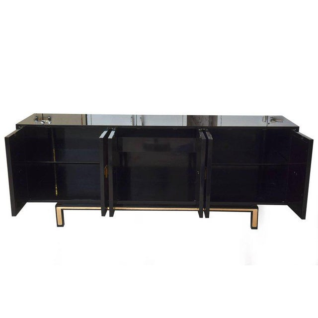 Contemporary Vintage Lacquered, Gold Leaf and Brass Cabinet/ Buffet For Sale - Image 3 of 11