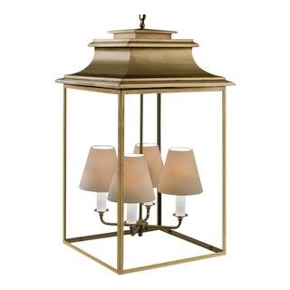 4 Light Antique Brass Finish Pendant Lantern For Sale