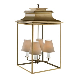 4 Light Antique Brass Finish Pendant Lantern - Medium Size For Sale