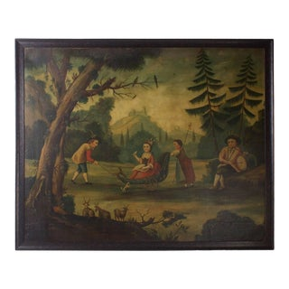 18th Century Oil on Canvas Woodland Scene Painting For Sale
