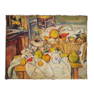 Early 20th Century Antique French Paul Cezanne Still Life With Fruit Oil on Jute Fabric Painting For Sale