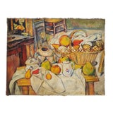 Image of Vintage Art Tribute to French Artist Paul Cezanne Still Life With Fruit Oil on Jute Fabric Painting For Sale