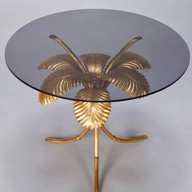 Hollywood Regency Italian Gilt Metal Palm Leaf Side Table with Smoked Glass Top For Sale - Image 3 of 7