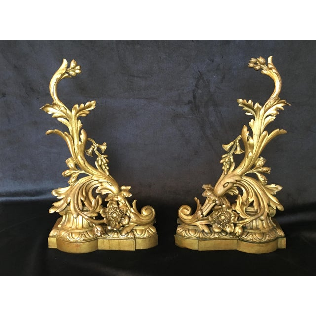 Gold 19th Century Bronze Andirons - a Pair For Sale - Image 8 of 8