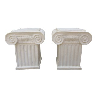 Plaster Capital Style Table Bases -A Pair For Sale
