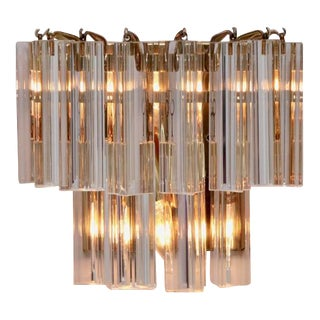 Murano Triedri Glass and Brass Wall Lamps or Sconces by Venini For Sale