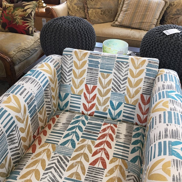 Custom Contemporary Leaf Motif Upholstered Arm Chair - Image 11 of 11
