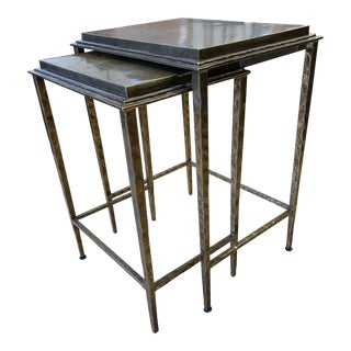 Custom Design Bronze Finished Nesting Table Set - 2 Pieces For Sale