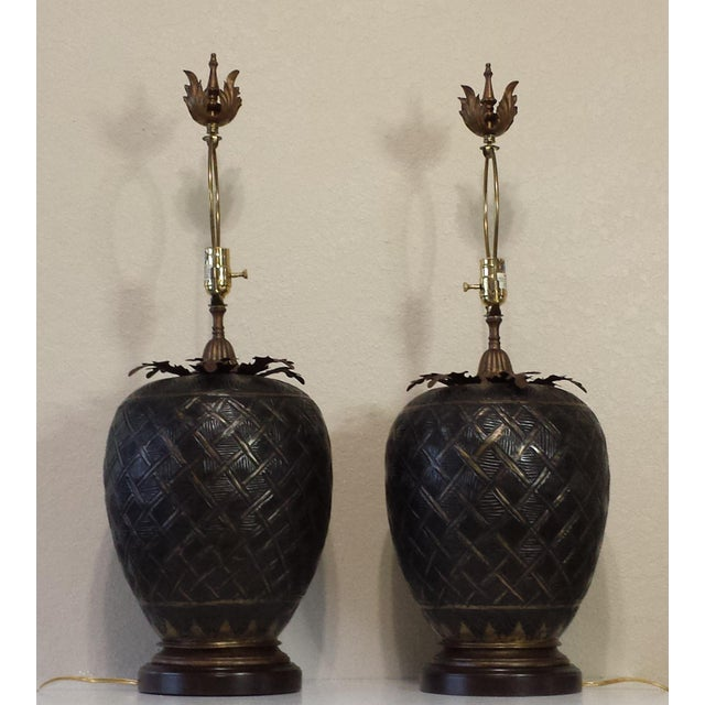 This listing is for a Pair of John Richard Brass Table Lamps This item has some aging imperfections/spots/scratches/touch...