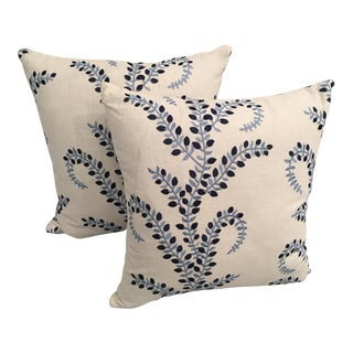 Embroidered Blue Floral Pillows - A Pair