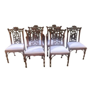 Chinese Chippendale Dining Chairs - Set of 6 For Sale