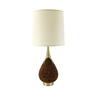 Laurel Mid-Century Cork and Brass Teardrop Lamp For Sale