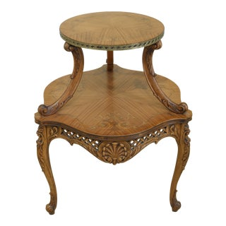 Vintage 1920s Inlaid Satinwood French Tiered Table For Sale