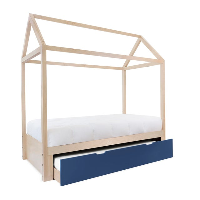 Contemporary Domo Zen Full Trundle Canopy Bed in Maple With Deep Blue Finish For Sale - Image 3 of 3