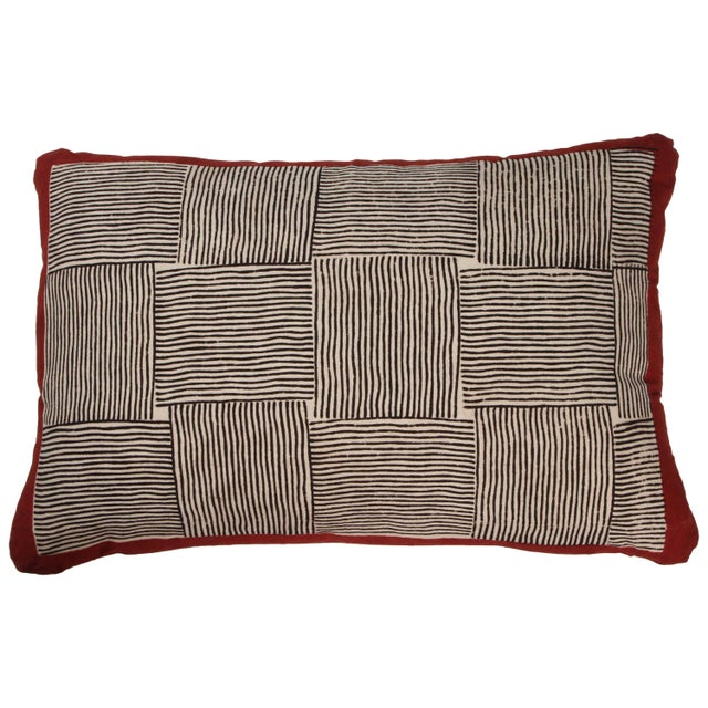 2010s Gopal Indian Cotton Block Print Pillow in Black, White and Red For Sale - Image 5 of 5