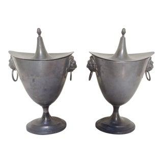 Antique Pewter Chestnut Urns - A Pair