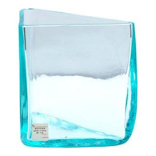 "Roberto Sambonet ""Cubic"" Aquamarine Blown Glass Triangular Vase for Seguso, 1979 For Sale"