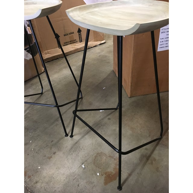 Contemporary Modern Industrial Wood and Iron Barstools - Set of 2 For Sale - Image 3 of 6