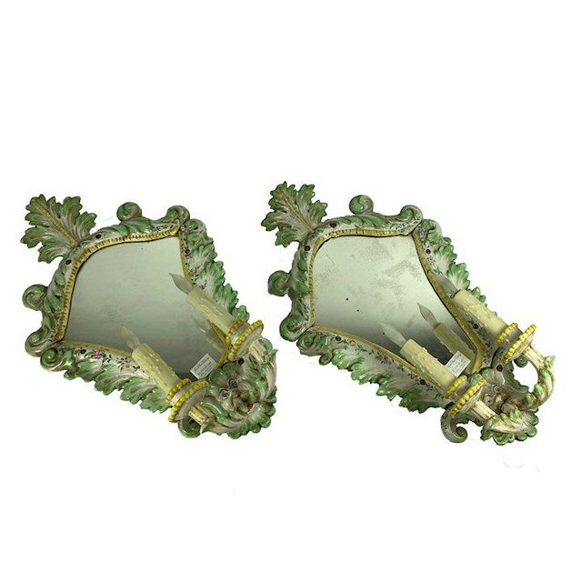 Shabby Chic 19th Century Italian Porcelain Sconces With Faces - a Pair For Sale - Image 3 of 10