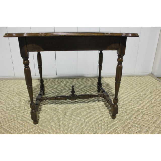 Antique French side table circa 1800 with drawer. Originally purchased from Hollyhock. Gorgeous details top to bottom.