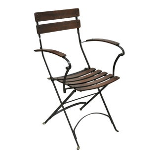 Vintage Wrought Iron Wood Slat Cafe Bistro Arm Chair For Sale