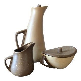 Mid-Century Studio Pottery Coffee, Creamer & Sugar Set - 3 Piece Set For Sale