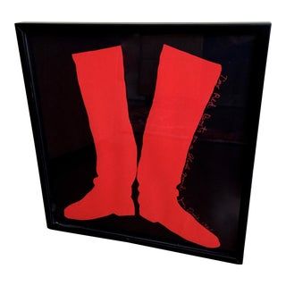 "Jim Dine Framed ""Two Red Boots on a Black Background Poster 1965"" Original Print For Sale"