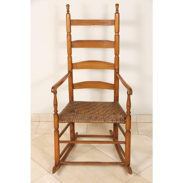 Maple Early 20th Century Ladder High Back Rocking Chair For Sale - Image 7 of 7