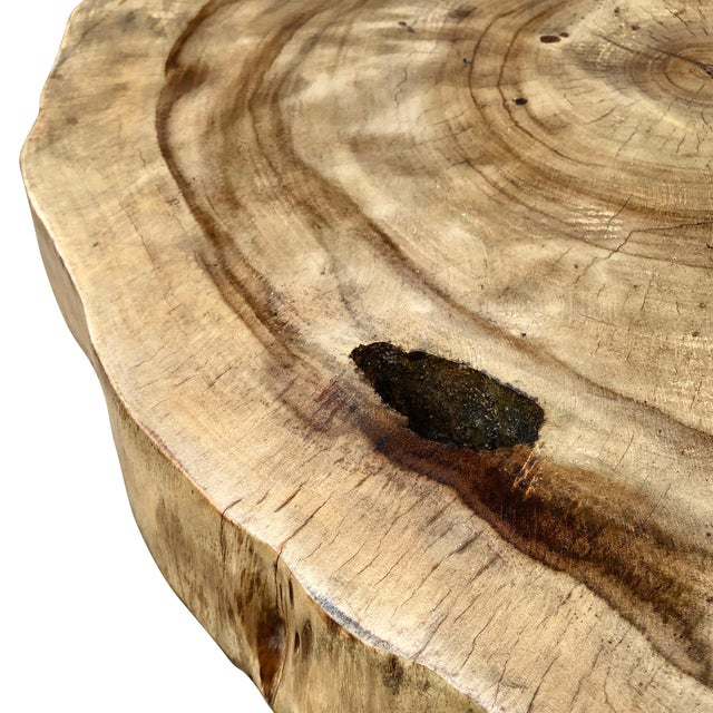 Metal Rustic Live Edge Pine Slab End Table For Sale - Image 7 of 13