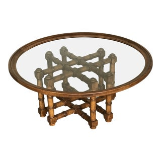 1970s Brutalist Faux Bamboo Glass Coffee Table For Sale