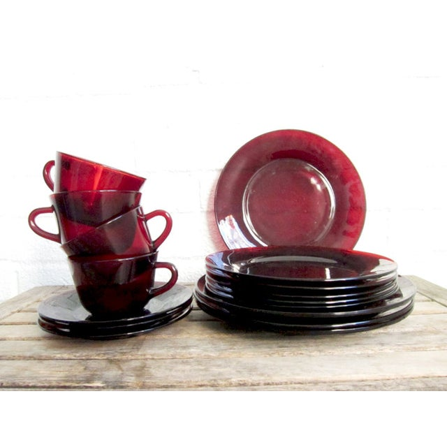 Vintage Ruby Red Glass Tea Cups & Plates - 16 Pcs - Image 3 of 6