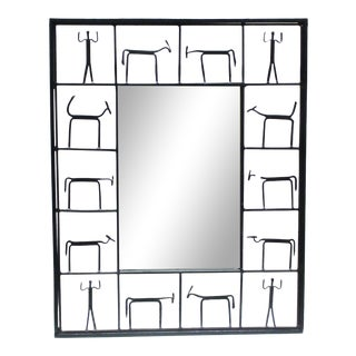 Pair Mirrors 1950's Frederick Weinberg Mid-Century Modern Giacometti Style Wrought Iron For Sale