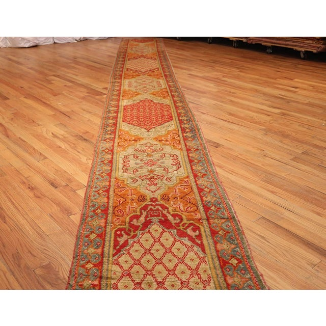 Early 20th Century Antique Arts and Crafts Turkish Oushak Runner Rug - 2′10″ × 26′ For Sale - Image 5 of 10