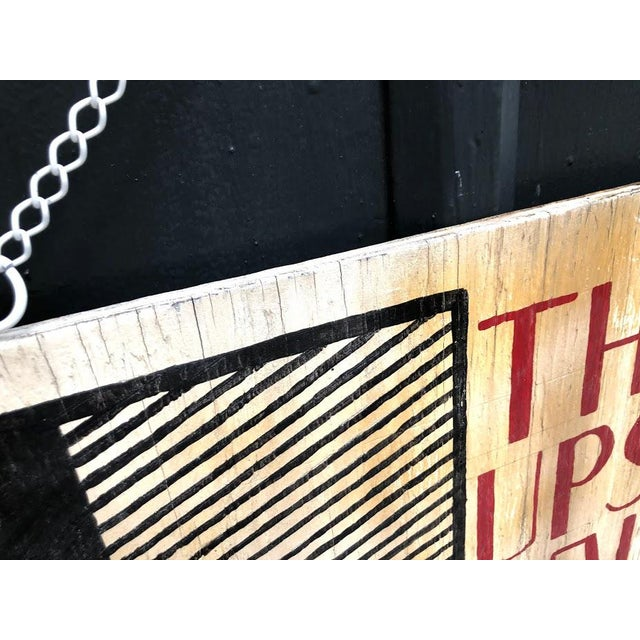 "Mid-Century Modern 1960s Wooden ""Upstairs Gallery"" Hanging Sign For Sale - Image 3 of 5"