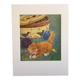 "Vintage Diana Thorne Cat Print ""Kitten in a Tangle"" For Sale"