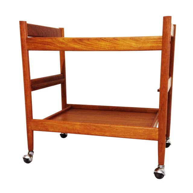 Mid-Century Teak Bar Cart - Image 1 of 7