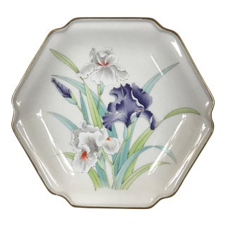 1980's Japanese Fine Ceramic Floral & Gold Accent Hexagonal Decorative Plate For Sale