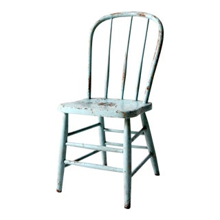 Antique Blue Bow Back Windsor Chair For Sale