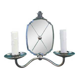 Two Arm Polished Nickel Wall Sconce With Antiqued Mirror