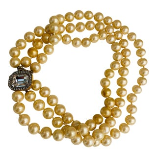 1980s Kenneth J. Lane Champagne Pearl Three Strand Necklace For Sale