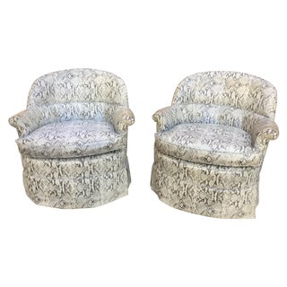 1940's Faux Snake-Skin Club Chairs - Pair For Sale