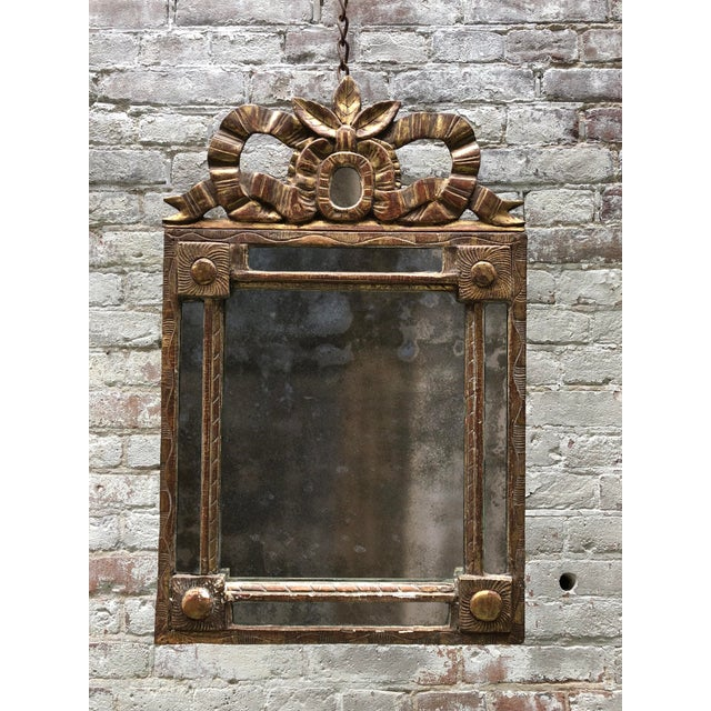 Gold Leaf 18th Century Caved Gilt Wood Smal Louis XVI Mirror For Sale - Image 7 of 8