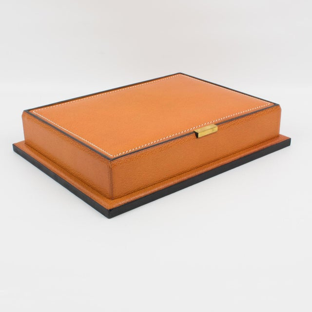 1940s Longchamp Hand-Stitched Leather Box For Sale - Image 5 of 13