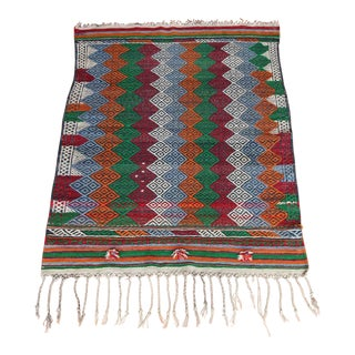 1960s Vintage Bergama Yoruk Wool Handmade Kilim Rug - 3′3″ × 4'3'' For Sale