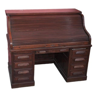 English Traditional Wood Rolltop Desk For Sale