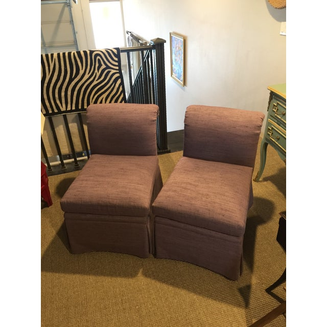 1980s Vintage Heritage Plum Color Linen Slipper Chairs- A Pair For Sale - Image 12 of 12