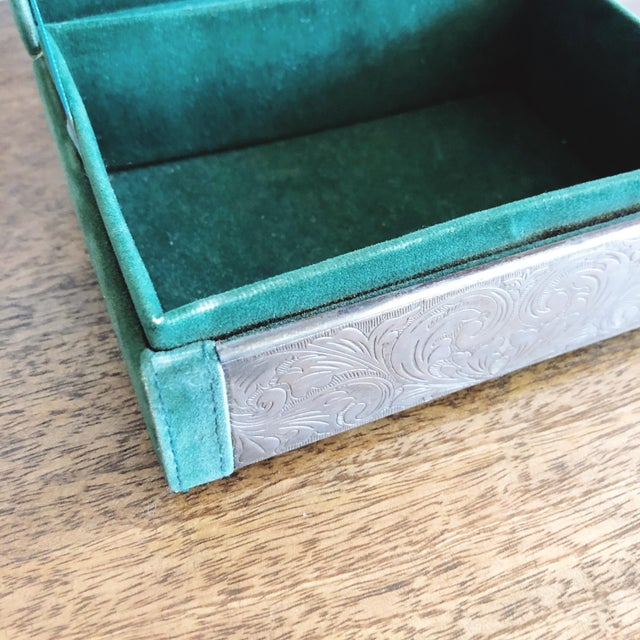 Embossed Tin and Green Velvet Box For Sale In Austin - Image 6 of 7